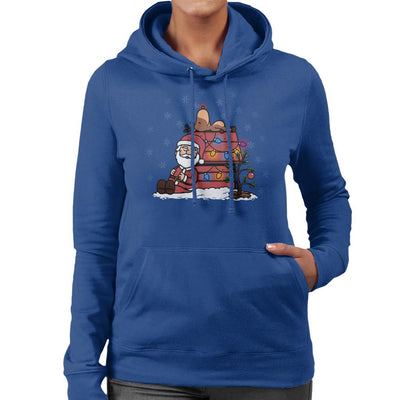 Santa And His Deer Peanuts Christmas Women's Hooded Sweatshirt by Bohsky - Cloud City 7