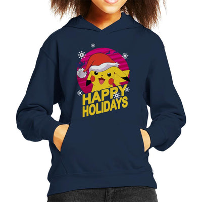 Pikachu Happy Holidays Cute Pokemon Kid's Hooded Sweatshirt by anneliarmo - Cloud City 7
