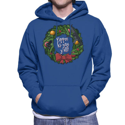 Yippee Ki Yay Christmas Wreath Die Hard Men's Hooded Sweatshirt by Bohsky - Cloud City 7
