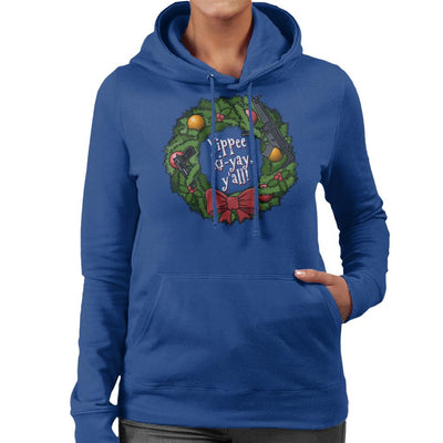 Yippee Ki Yay Christmas Wreath Die Hard Women's Hooded Sweatshirt by Bohsky - Cloud City 7