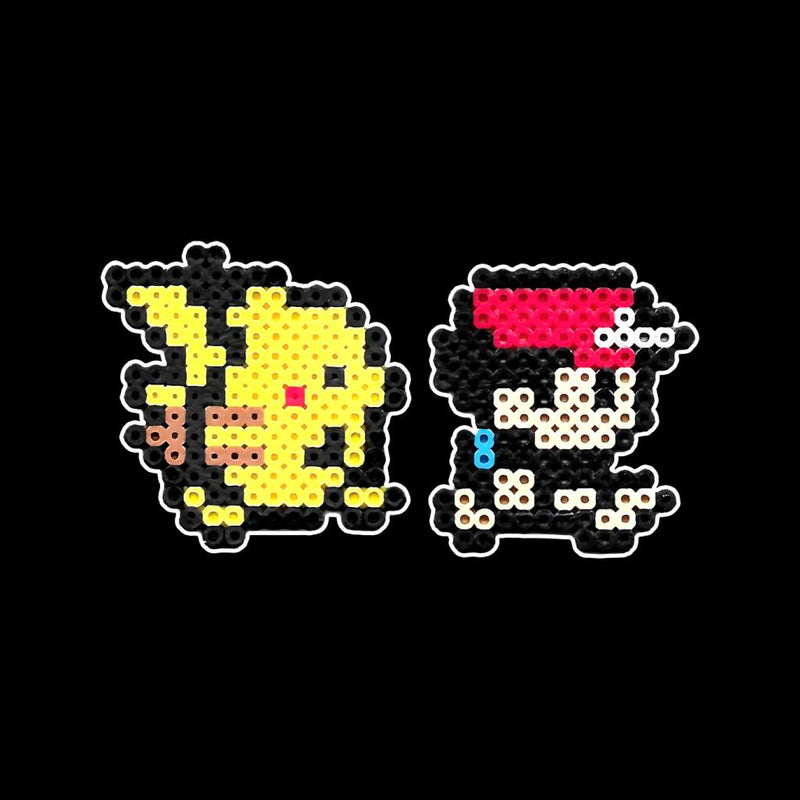 27e1cee98 ... Pikachu And Trainer Ash 8bit Pixel Character Pokemon Bead Men's T-Shirt  by BrotherOfPerl ...