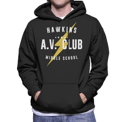 Stranger Things Hawkins AV Club Men s Hooded Sweatshirt by Stroodle Doodle  - Cloud City 7 dfa1d1ce1d8