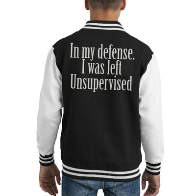In My Defense I Was Unsupervised Kid's Varsity Jacket by Acepress - Cloud City 7