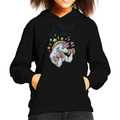 Unicorn I Sweat Rainbow Pixel Art Kid's Hooded Sweatshirt by Cletus Courgetti - Cloud City 7