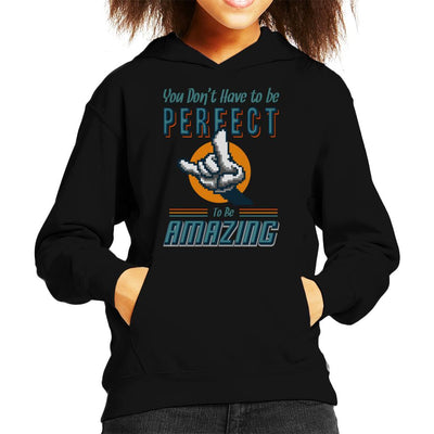 You Dont Have To Be Perfect To Be Amazing Kid's Hooded Sweatshirt by Cletus Courgetti - Cloud City 7