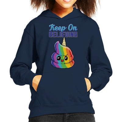 Keep On Believing Unicorn Ice Cream Kid's Hooded Sweatshirt by Cletus Courgetti - Cloud City 7