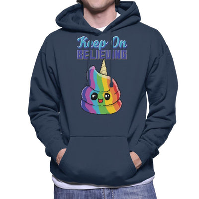 Keep On Believing Unicorn Ice Cream Men's Hooded Sweatshirt by Cletus Courgetti - Cloud City 7