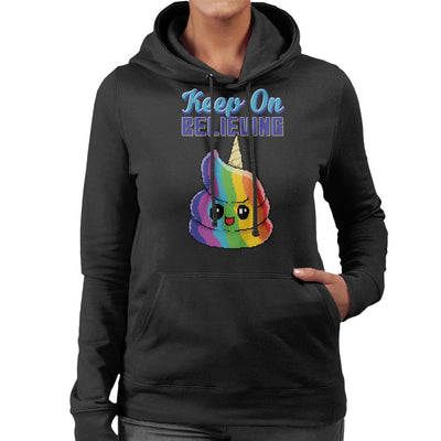 Keep On Believing Unicorn Ice Cream Women's Hooded Sweatshirt by Cletus Courgetti - Cloud City 7