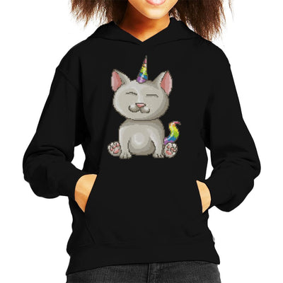 Cat Unicorn Pixel Art Kid's Hooded Sweatshirt by Cletus Courgetti - Cloud City 7