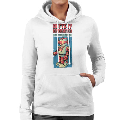 Battery Operated Mechanical Robot Pixel Art Women's Hooded Sweatshirt by Cletus Courgetti - Cloud City 7