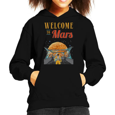 Welcome To Mars Astronaut Pixel Art Kid's Hooded Sweatshirt by Cletus Courgetti - Cloud City 7