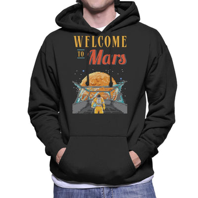 Welcome To Mars Astronaut Pixel Art Men's Hooded Sweatshirt by Cletus Courgetti - Cloud City 7