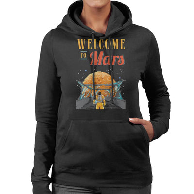 Welcome To Mars Astronaut Pixel Art Women's Hooded Sweatshirt by Cletus Courgetti - Cloud City 7