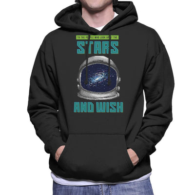 To People Who Look Up At The Stars Astonauts Helmet Pixel Art Men's Hooded Sweatshirt by Cletus Courgetti - Cloud City 7