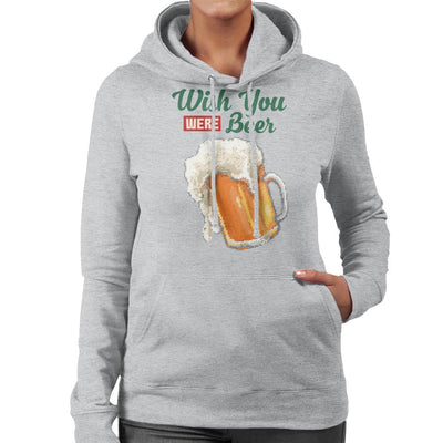 Wish You Were Beer Glass Of Beer Pixel Art Women's Hooded Sweatshirt by Cletus Courgetti - Cloud City 7