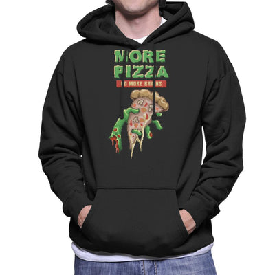 More Pizza No More Brains Zombie Hand With Pizza Pixel Art Men's Hooded Sweatshirt by Cletus Courgetti - Cloud City 7
