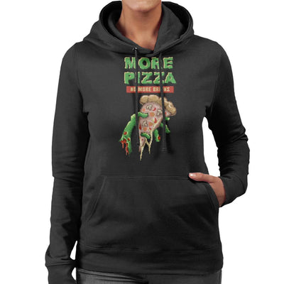 More Pizza No More Brains Zombie Hand With Pizza Pixel Art Women's Hooded Sweatshirt by Cletus Courgetti - Cloud City 7