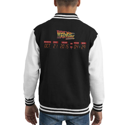 DeLorean Count Down Time Machine Back To The Future Kid's Varsity Jacket by Acepress - Cloud City 7
