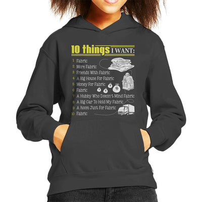 10 Things I Want Fabric Kid's Hooded Sweatshirt by Happeace - Cloud City 7