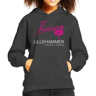 Flamingo Bar Logo Lilyhammer Kid's Hooded Sweatshirt by Stroodle Doodle - Cloud City 7