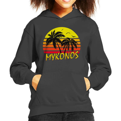 Mykonos Vintage Sun Kid's Hooded Sweatshirt by BoyWithHat - Cloud City 7