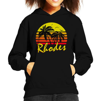 Rhodes Vintage Sun Kid's Hooded Sweatshirt by BoyWithHat - Cloud City 7