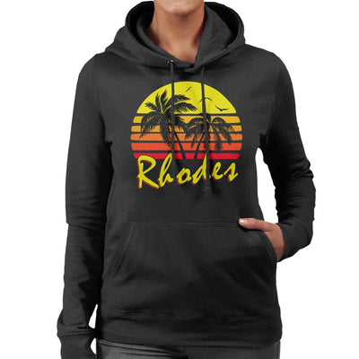 Rhodes Vintage Sun Women's Hooded Sweatshirt by BoyWithHat - Cloud City 7
