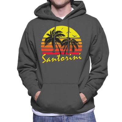 Santorini Vintage Sun Men's Hooded Sweatshirt by BoyWithHat - Cloud City 7