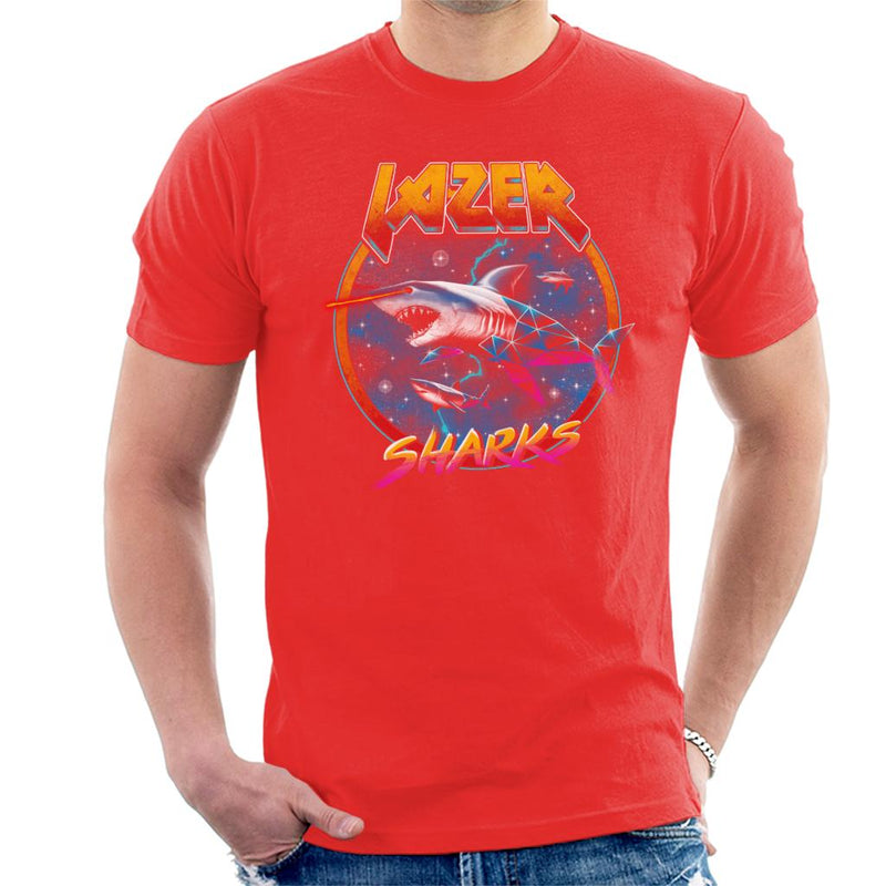 Lazer Sharks Retro Wave Men's T-Shirt by Vincent Trinidad - Cloud City 7