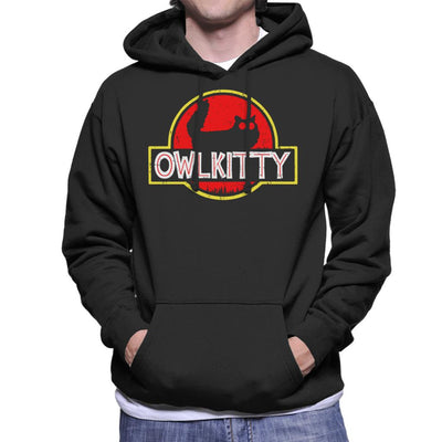 Owl Kitty Eyes Jurassic Park Logo Men's Hooded Sweatshirt by Nathan - Cloud City 7