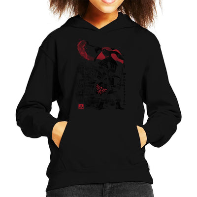 Between Worlds Sumi E Legend Of Zelda Kid's Hooded Sweatshirt by Dr.Monekers - Cloud City 7