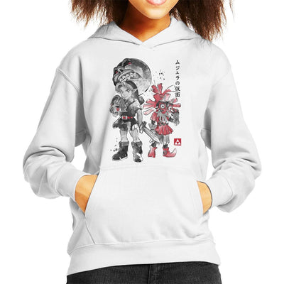 Majoras Sumi E Legend Of Zelda Kid's Hooded Sweatshirt by Dr.Monekers - Cloud City 7