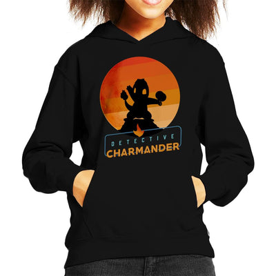 Detective Charmander Silhouette Kid's Hooded Sweatshirt by douglasstencil - Cloud City 7