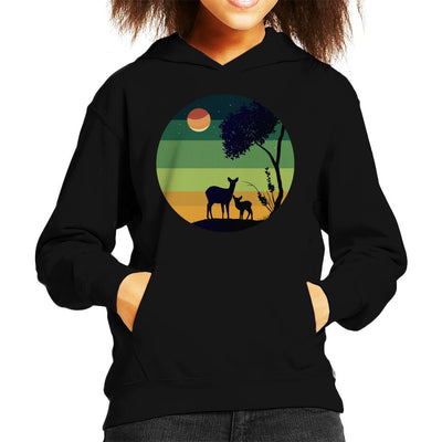 Forest Deer Family Silhouette Kid's Hooded Sweatshirt by douglasstencil - Cloud City 7