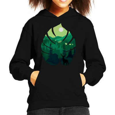 Stag Silhouette On Green Landscape Kid's Hooded Sweatshirt by douglasstencil - Cloud City 7