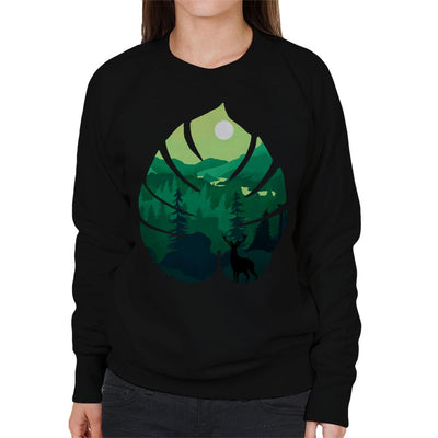 Stag Silhouette On Green Landscape Women's Sweatshirt by douglasstencil - Cloud City 7