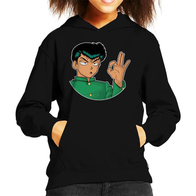 Yusuke Urameshi YuYu Hakusho OK Colour Kid's Hooded Sweatshirt by douglasstencil - Cloud City 7