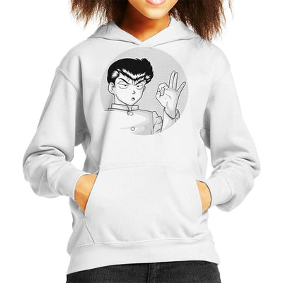 Yusuke Urameshi YuYu Hakusho OK Colourless Kid's Hooded Sweatshirt by douglasstencil - Cloud City 7