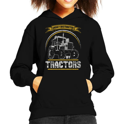 Easily Distracted By Tractors Kid's Hooded Sweatshirt by Happeace - Cloud City 7