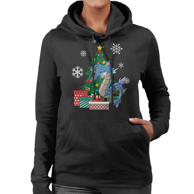 Gyarados Around The Christmas Tree Women's Hooded Sweatshirt by Nova5 - Cloud City 7