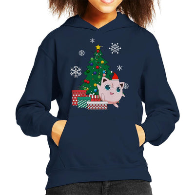 Jigglypuff Around The Christmas Tree Kid's Hooded Sweatshirt by Nova5 - Cloud City 7