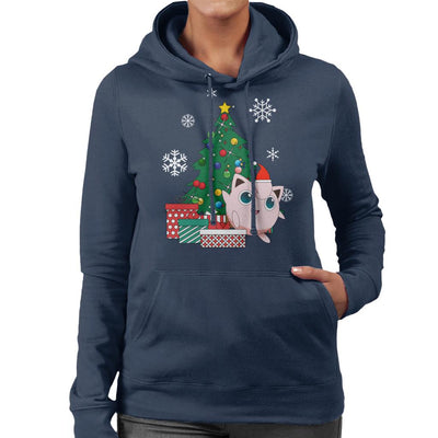 Jigglypuff Around The Christmas Tree Women's Hooded Sweatshirt by Nova5 - Cloud City 7