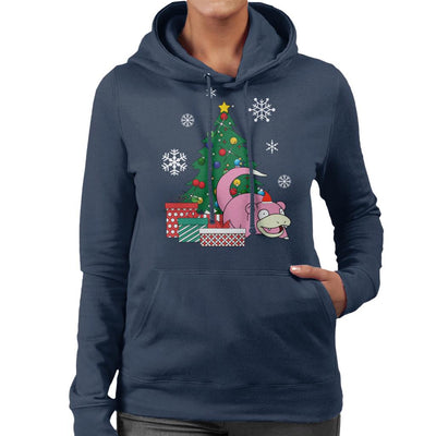 Slowpoke Around The Christmas Tree Women's Hooded Sweatshirt by Nova5 - Cloud City 7