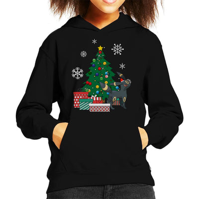 Umbreon Around The Christmas Tree Kid's Hooded Sweatshirt by Nova5 - Cloud City 7