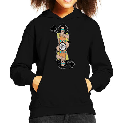 Skater Girl Playing Card Kid's Hooded Sweatshirt by douglasstencil - Cloud City 7