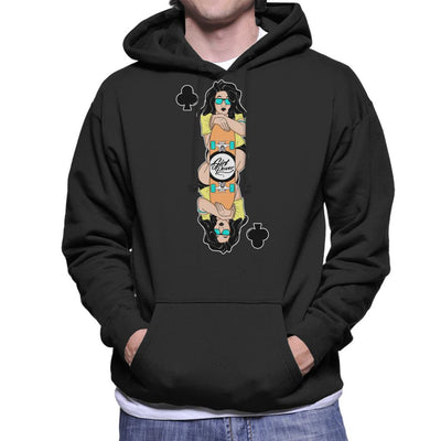 Skater Girl Playing Card Men's Hooded Sweatshirt by douglasstencil - Cloud City 7