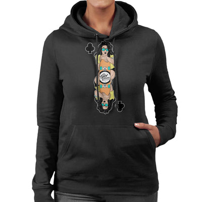 Skater Girl Playing Card Women's Hooded Sweatshirt by douglasstencil - Cloud City 7