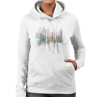 Watercolour City Women's Hooded Sweatshirt by crbndesign - Cloud City 7