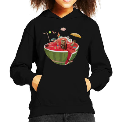 Watermelon Beach Kid's Hooded Sweatshirt by crbndesign - Cloud City 7