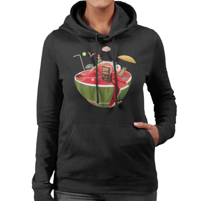 Watermelon Beach Women's Hooded Sweatshirt by crbndesign - Cloud City 7